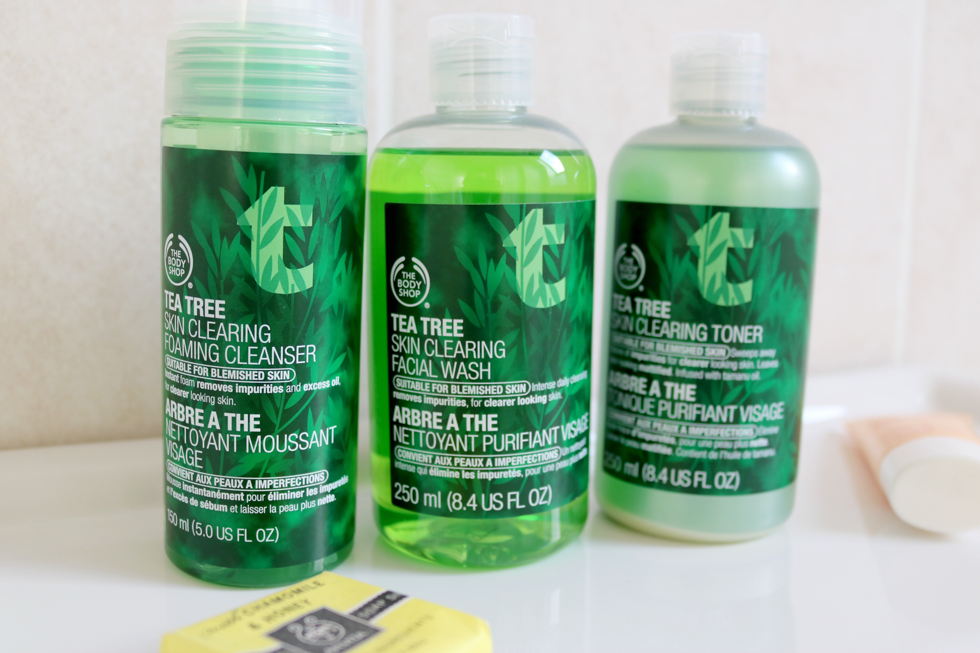 The Body Shop Tea Tree Skin Clearing foaming cleasner facial wash toner Jodetopia