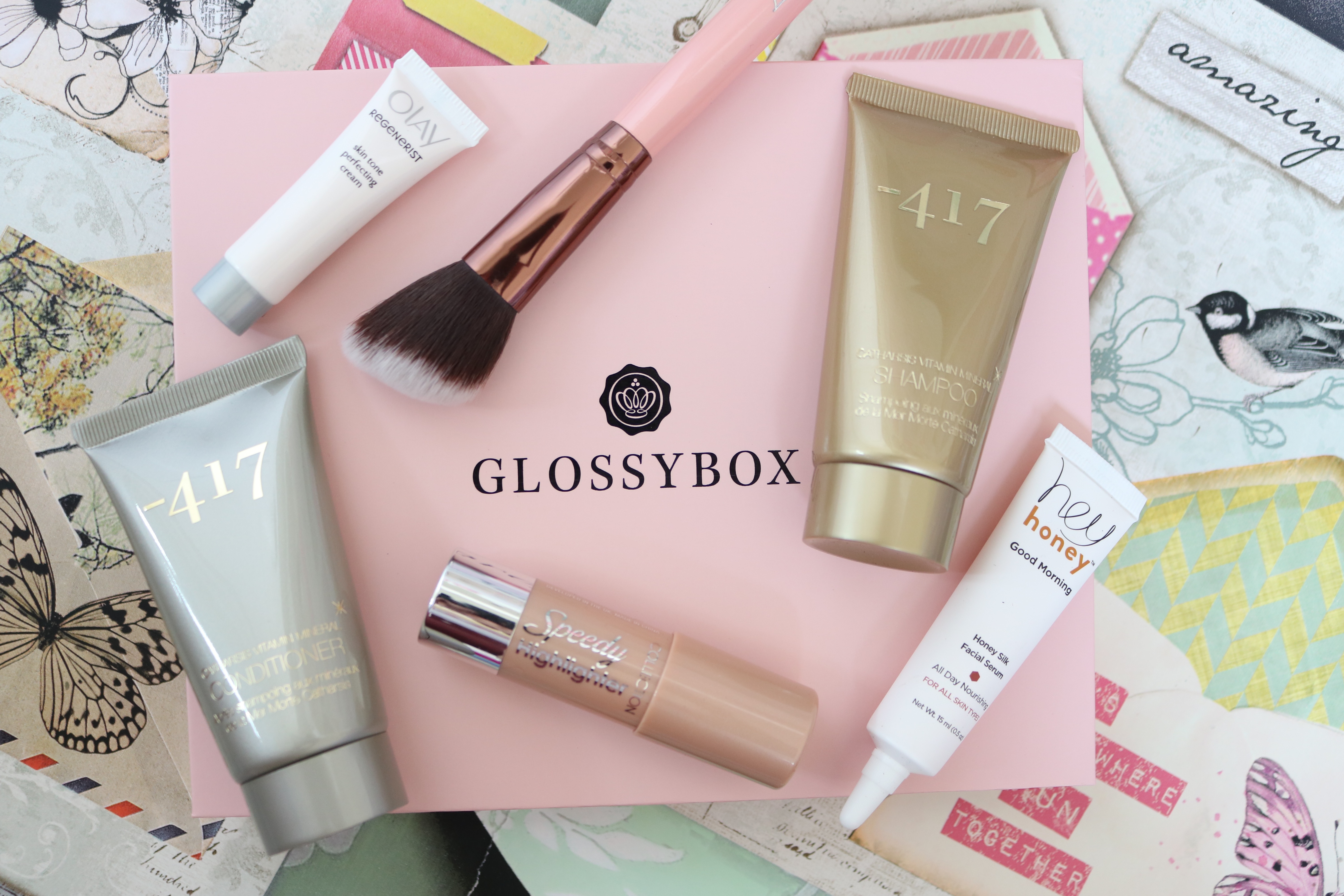 Glossybox March 2016 Get Glowing Jodetopia Luxie Olay Collection -417 Hey Honey