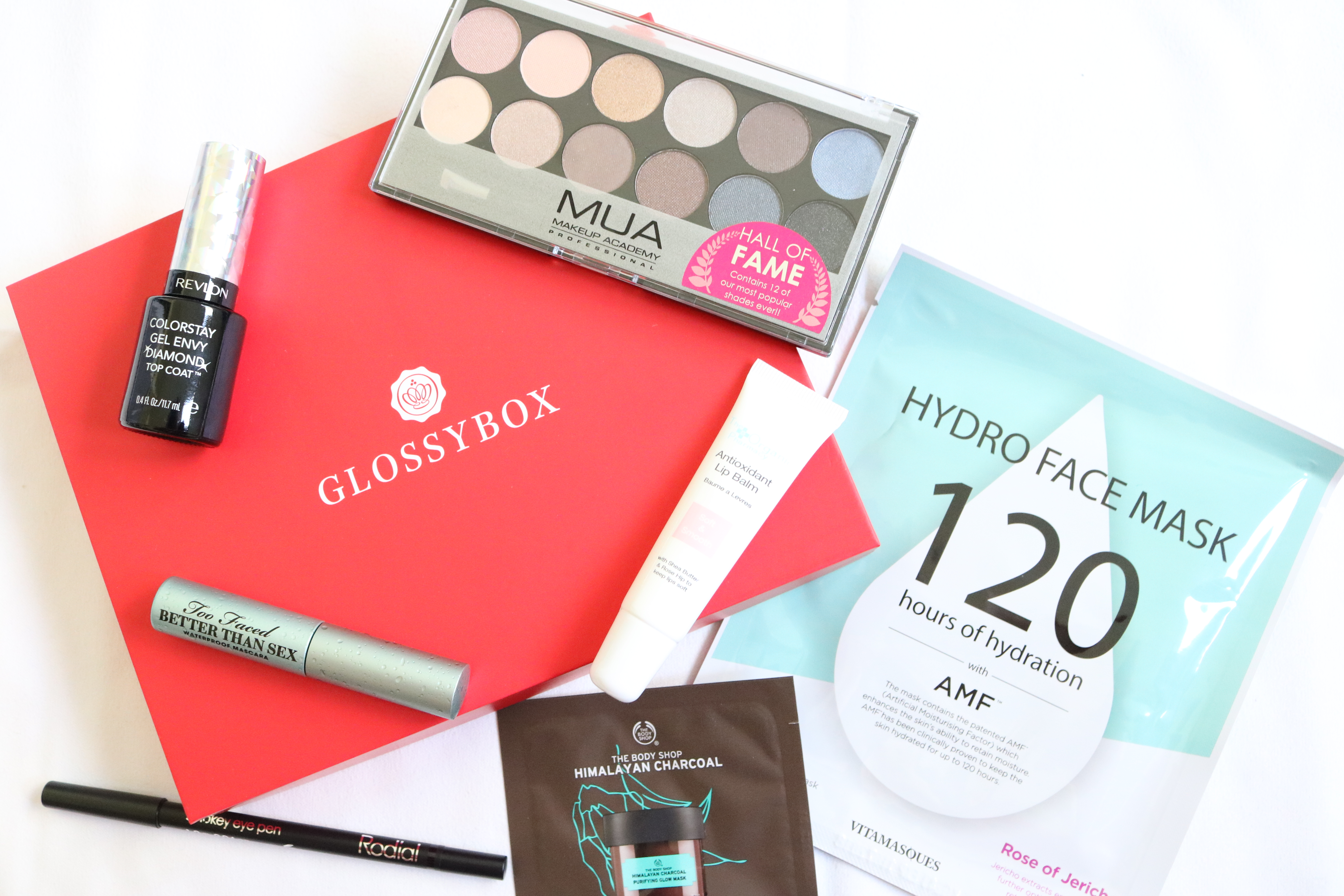 Glossybox, Jodetopia, Too Faced, Vitamasques, The Body Shop, MUA, Revlon, Rodial, The Organic Pharmacy