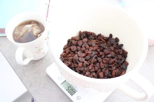 weighing the tea bread recipe ingredients
