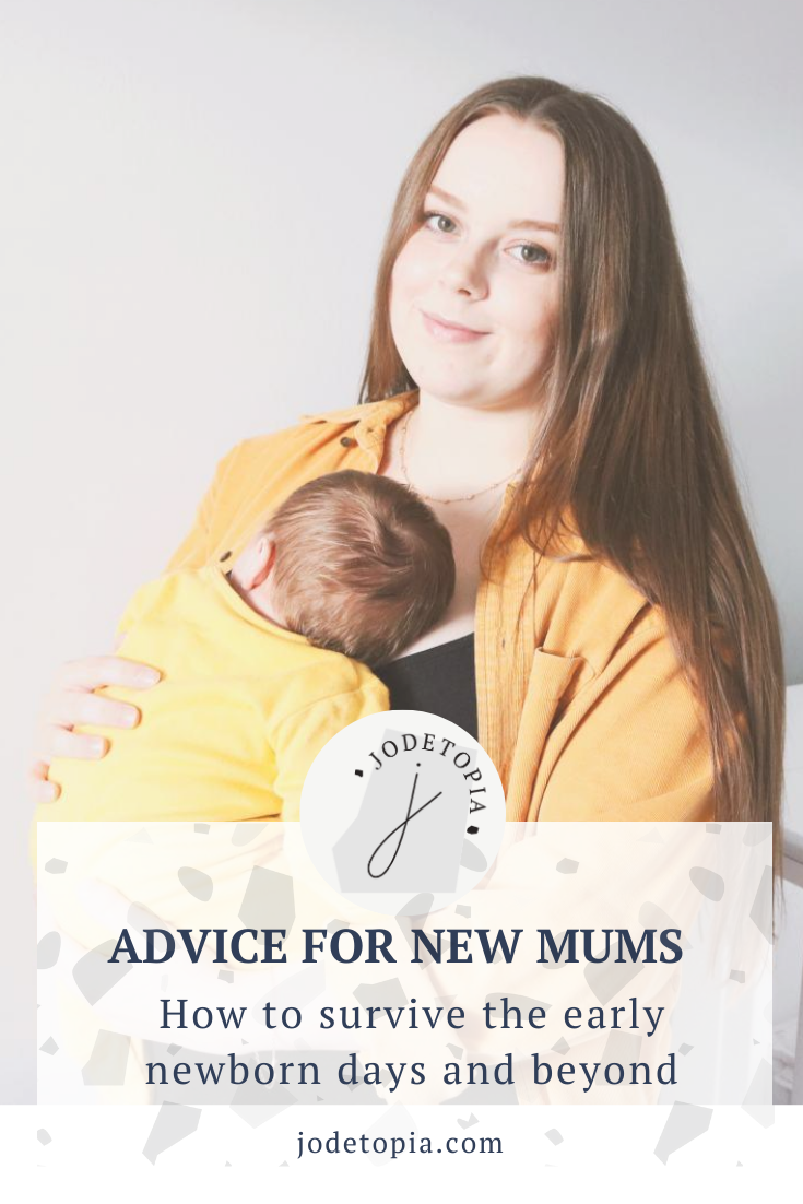 Advice for new mums pinterest graphic