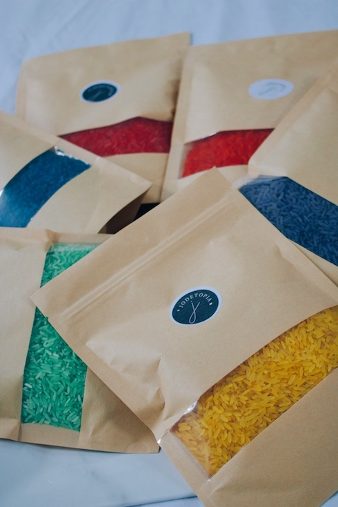 Packaged sensory rainbow rice in individual colours
