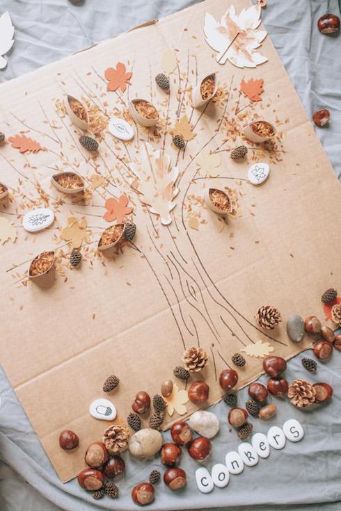 autumn sensory play tree