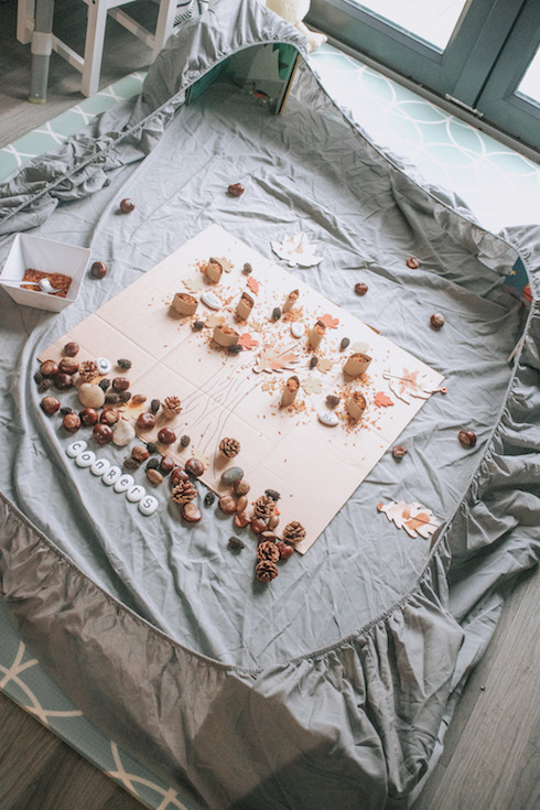 messy play at home in a bedsheet