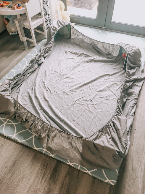 messy play at home bedsheet