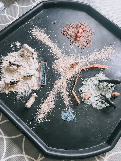 messy play at home farm tray