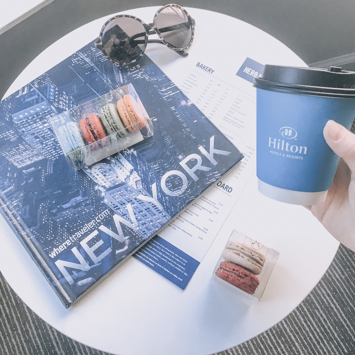 New York hotel flatlay with coffee
