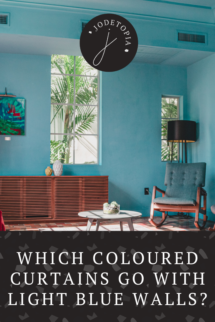 Which coloured curtains go with light blue walls?