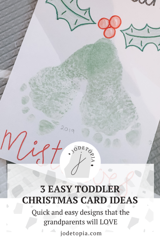 Easy toddler christmas card idea mistletoe footprint